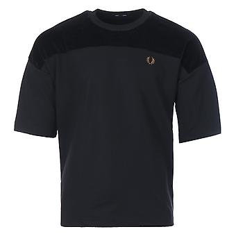 Fred Perry Velour Panel Tricot T-Shirt - Black