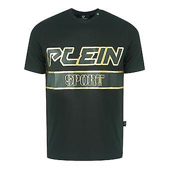 Philipp Plein Sport Gold Block Logo Black T-Shirt
