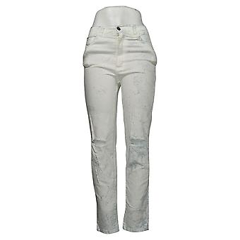 Brittany Humble Women's Jeans Boyfriend Ripped Knees White 749807