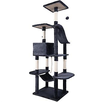 Cat Climbing Scratching Post With Scratcher Activity Centres In Grey