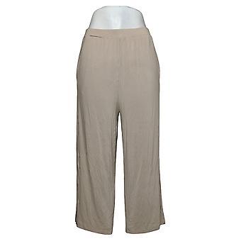 WynneLayers by MarlaWynne Women's Pants Straight Cropped Crepe Beige 694697
