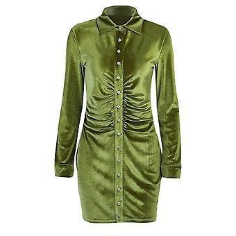 Dress Pleated Slim Shirt Collar Temperament Sexy Elegant Button Slim Skirt