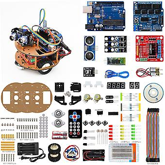 Turtle Smart Robot Car Kit per Arduino, Ir Remote / bluetooth Control, Line Tracking, Ultrasonic Obstacle Avoidance / follow