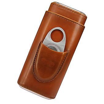 Three Finger Cigar Box Two End Hardware Belt Cigar Scissors Cigar Leather Accessories