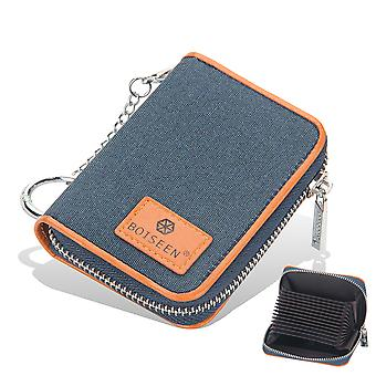 Credit Card Wallet, Zipper Card Cases Holder For Men Women, Rfid Blocking, Key Chain, Compact Size Blue