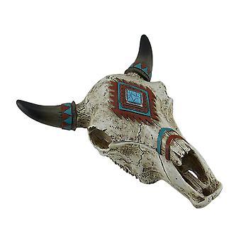 Sudoeste estilo decorado caixa de Trinket de crânio de boi