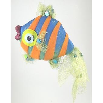 Blue Orange Stripes Tropical Fish Nautical Beach Christmas Holiday Tree Ornament