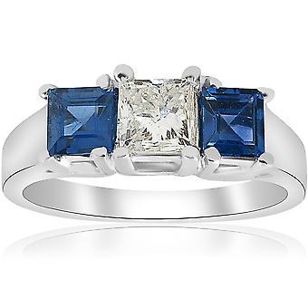 1 1/2ct Princess Cut Diamond & Blue Sapphire 3 Stone Ring 14K White Gold