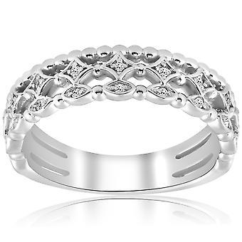 1/8ct וינטג ' יהלום טבעת נישואין 14k לבן זהב