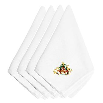 Christmas Bells Red, Green and Gold Embroidered Napkins Set of 4