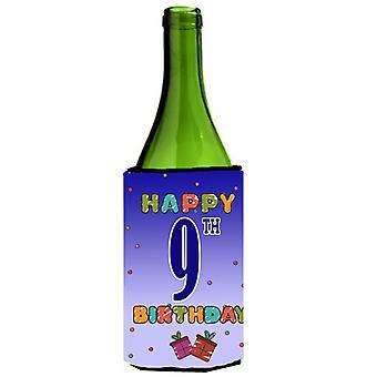 Glada 9: e födelsedag vin flaska dryck isolator Hugger