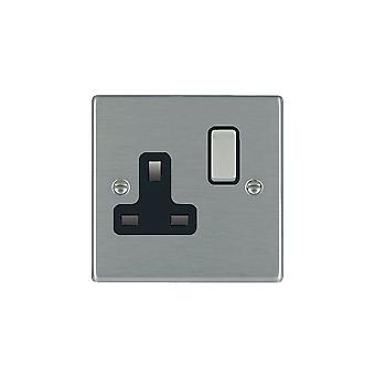 Hamilton Litestat Hartland Satin Stainless 1g 13A DP Switched Socket SS/BL