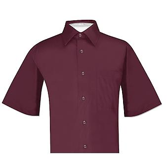 Biagio 100% bomull mäns Kortärmad Solid klänning skjorta