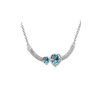 Womens Double Heart Love Sky Blue Crystal Pendant Necklace Stones