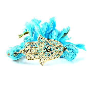 Ettika - Hamsa bracelet in Yellow Gold and Cotton Blue Braided Ribbons 2513