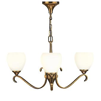 Interiors 1900 63439 Columbia 3 Light Ceiling Fitting In Antique Brass