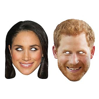 Prince Harry and Meghan Markle 2D Card Party Fancy Dress Masks 2 Pack