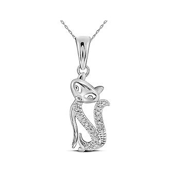10K White Gold Kitty Cat Pendant Necklace with Accent Diamonds and Chain
