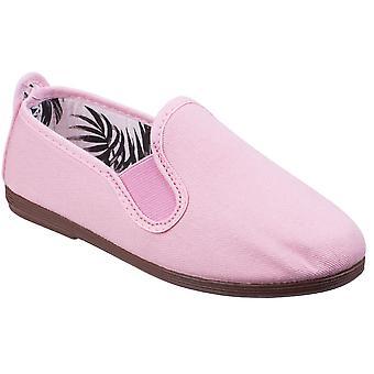 コットン キャンバスのカジュアルな夏の毛羽女の子の都市スリップ ポンプ靴