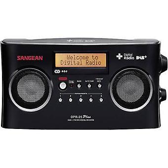 Sangean DPR-25 + draagbare radio DAB +, FM AUX batterijlader zwart