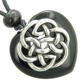 Amulet Celtic Shield Knot Puffy Heart Black Onyx Gemstone Pendant Necklace