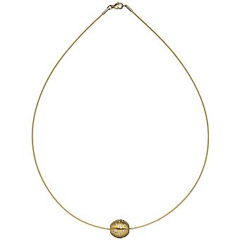 Necklace Choker with trailer ball stainless steel gold colors with cubic zirconia 45 cm