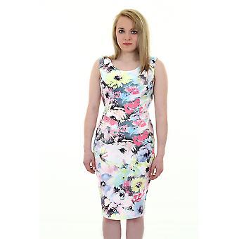 Ladies ermeløse pastell Floral Print kutte ut sløyfe tilbake Crepe Bodycon kjole