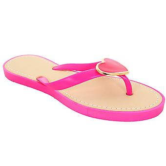Ladies Jelly Strap Metal Heart Accent Women's Thong Fashion Sandal Flip Flops