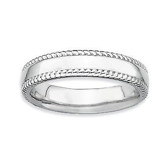 925 Sterling hopea kiillotettu pinottavat ilmeet Rhodium Ring korut lahjat naisille - Rengas Koko: 5-10