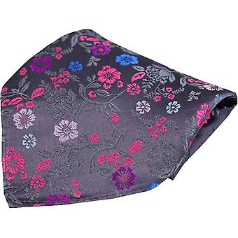 Posh and Dandy Floral Luxury Silk Pocket Square - Grey/Pink