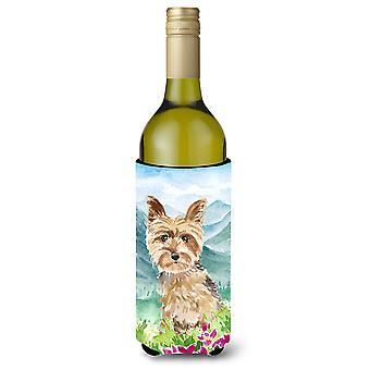 الزهور مونتيان يوركشاير الكلب النبيذ Yorkie زجاجة المشروبات عازل نعالها