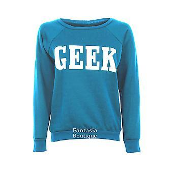 Ladies Long Sleeve Geek Jumper Black Grey Wine Cream Women's Sweater