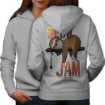Animal Music Jam Women GreyHoodie Back | Wellcoda