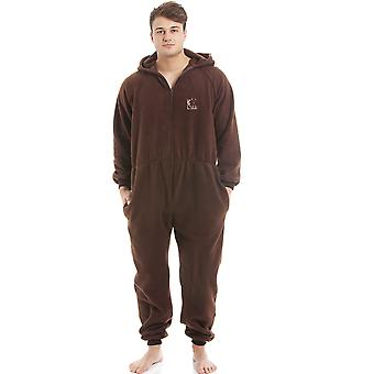 Camille Mens Brown Supersoft pile Zip frontale con cappuccio Onesie