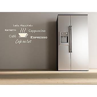 Kitchen Wall Decal Coffee Names Words Wall Sticker