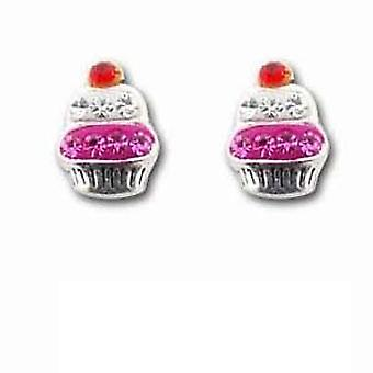 Die Olivia Collection Sterling Silber irre Rosa Cupcake Ohrstecker