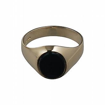9ct الذهب 12x10mm جنتس Onyx مجموعة Signet خاتم الحجم W