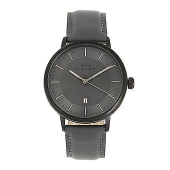 Elevon Vin Leather-Band Watch w/Date - Black/Grey