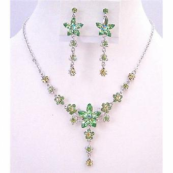 Peridot kristaller halsband uppsättning kväll formell Party blomma smycken gåva