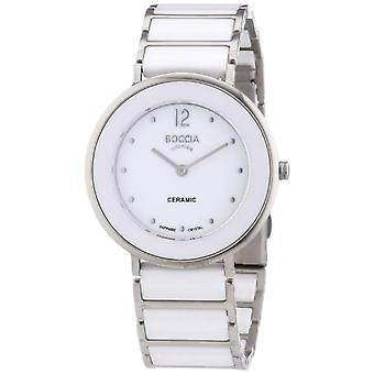 Boccia 3209-01-wristwatch, ceramics, color: white