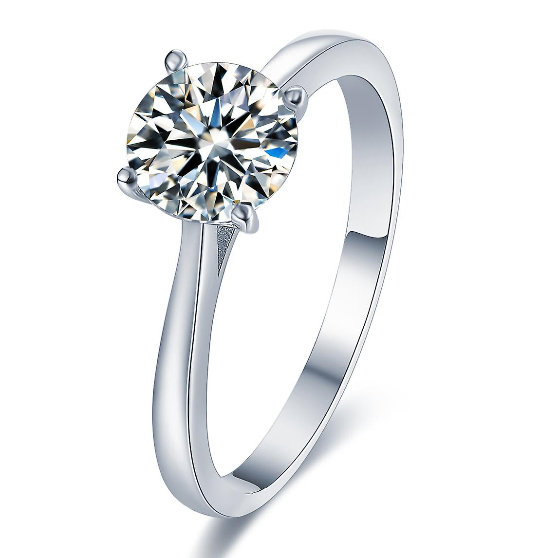 925 Sterling Silver 4-claws Round Cut Solitaire Engagement Ring