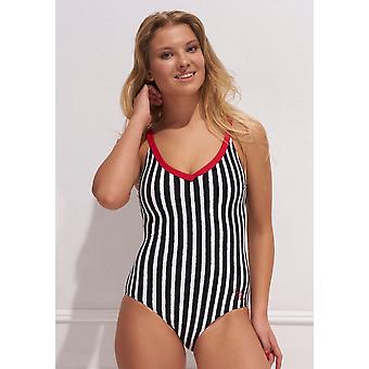أكوا بيرلا- النساء هوليوود- الأسود والأبيض-المطبوعة-Spf50+ - ملابس السباحة قطعة واحدة
