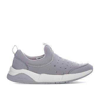 Children Girls Geox Hideaki Slip On Trainers In Grey- Slip On- Padded Collar And
