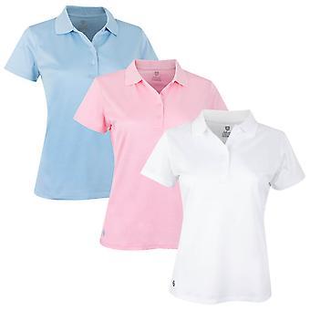 Island Green Womens Golf Plain Flatlock Stitch 2 Way Stretch Polo Shirt
