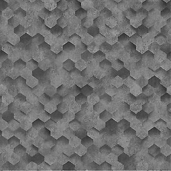 3D Hexagon Geometric Wallpaper Black Metal Grey Honeycomb Paste Wall Vinyl P+S