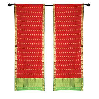 2 rote böhmische indische Sari Vorhänge Rod Tasche Wohnzimmer Fenster Behandlung