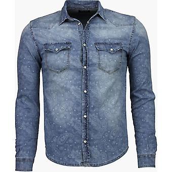 Denim shirt Slim Fit Pandora Print-Blue