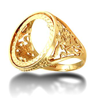 Jewelco London Men's Solid 9ct Yellow Gold St George Dragon Slayer Half Sovereign Mount Ring