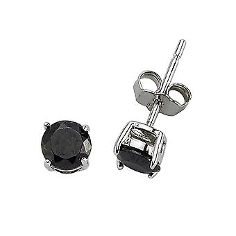 Jewelco London Rhodium Plated Silver Black Round Brilliant Cubic Zirconia Double Gallery Solitaire Stud Earrings 5mm