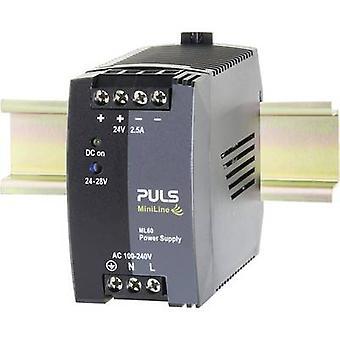 PULS MiniLine ML60.241 Rail mounted PSU (DIN) 24 V DC 2.5 A 60 W 1 x